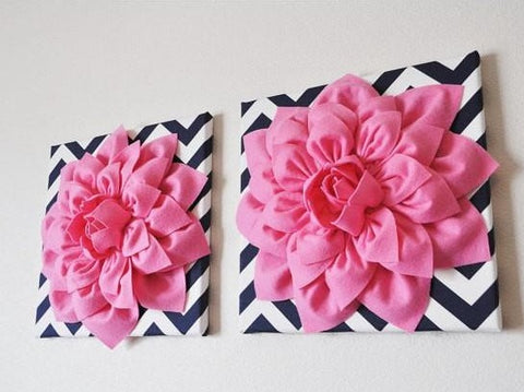 "MOTHERS DAY SALE Two Wall Flowers -Pink Dahlia on Navy and White Chevron 12 x12"" Canvas Wall Art- 3D Felt Flower"