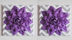 "Set Of Two Wall Decor -Lavender Dahlia on Gray and White Chevron 12 x12"" Canvas Wall Art- Baby Nursery Wall Decor- - Daisy Manor"