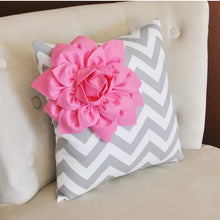 Load image into Gallery viewer, Pink Corner Dahlia on Gray and White Zigzag Pillow 14 X 14 -Chevron Flower Pillow- Zig Zag Pillows - Daisy Manor