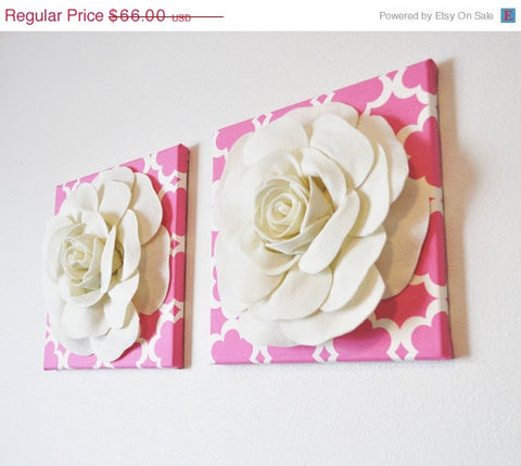 "MOTHERS DAY SALE Two Wall Flowers -Ivory Roses on Pink and Ivory Tarika Print 12 x12"" Canvases Wall Art- Baby Nursery Wall Decor-"