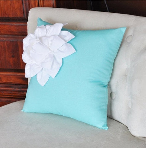 MOTHERS DAY SALE White Corner Dahlia on Bright Aqua Pillow 14 X 14 Aqua Blue Pillow Toss Pillow Decorative Pillow