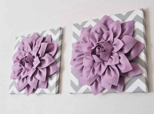 Two Wall Flowers -Lilac Dahlia on Gray and White Chevron 12 x12