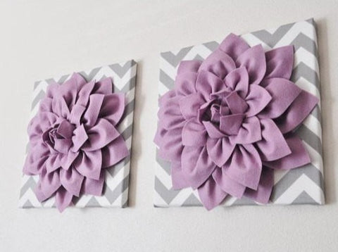 "MOTHERS DAY SALE Two Wall Flowers -Lilac Dahlia on Gray and White Chevron 12 x12"" Canvas Wall Art- Baby Nursery Wall Decor-"