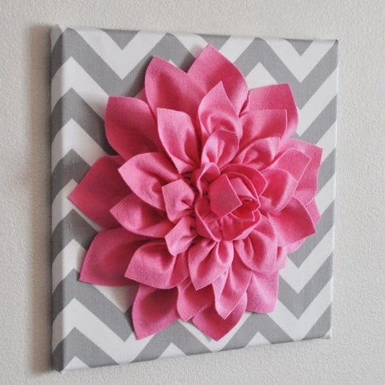 Pink Wall Flower -Bright Pink Dahlia on Gray and White Chevron 12 x12