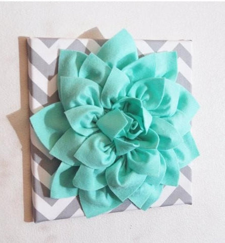 MOTHERS DAY SALE Large Mint Green Flower Wall Hanging -Flower Wall Decor- Chevron Home Decor -New Color-