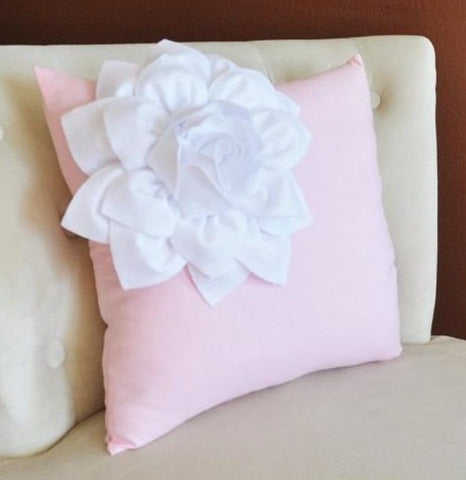 MOTHERS DAY SALE White Corner Dahlia on Light Pink Pillow  -Baby Nursery Pillow- Light Pink Decor
