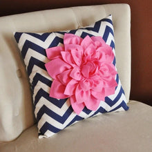 Load image into Gallery viewer, Pink Dahlia on Navy and White Zigzag Pillow - Chevron Pillow - - Daisy Manor