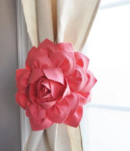 Load image into Gallery viewer, Coral Dahlia Flower Curtain Tie Back - Daisy Manor