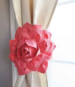 Coral Dahlia Flower Curtain Tie Back - Daisy Manor