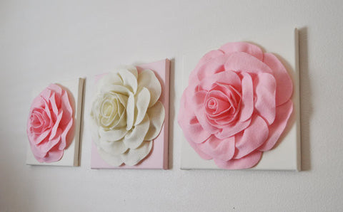 Light Pink and Ivory Rose Wall Hangings Set of Three