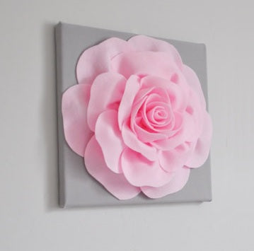 Light Pink Rose on Gray Canvas size 18x18 - Daisy Manor