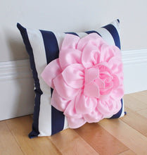 Load image into Gallery viewer, Navy Stripe Floral Pillow - Daisy Manor