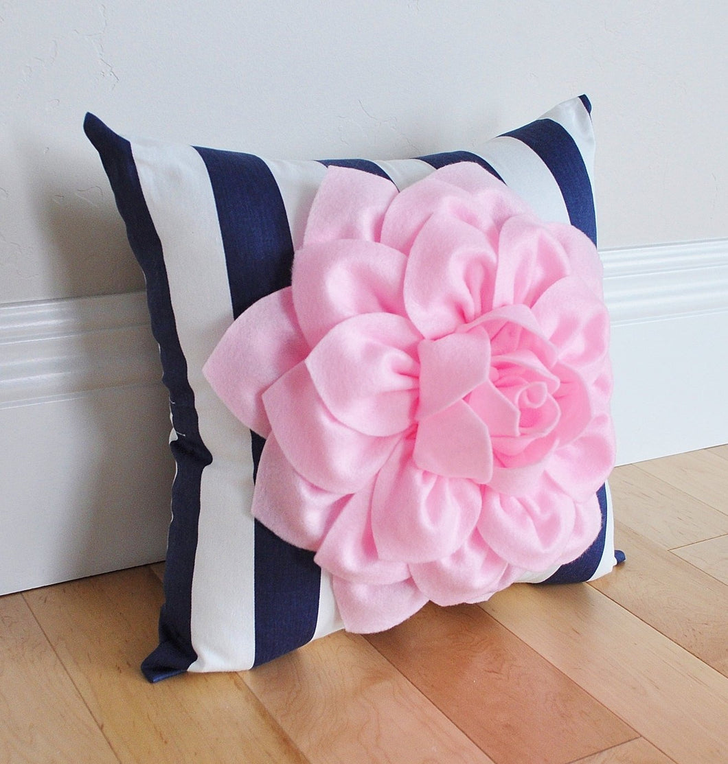 Navy Stripe Floral Pillow - Daisy Manor