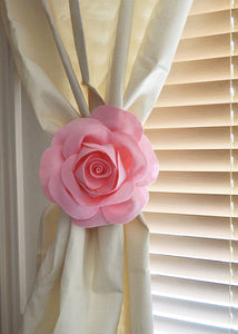 Light Pink Rose Curtain Tie - Daisy Manor