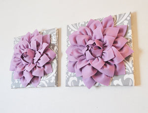 TWO Mint Green Dahlia on Gray and White Damask Canvases Wall Art - Daisy Manor