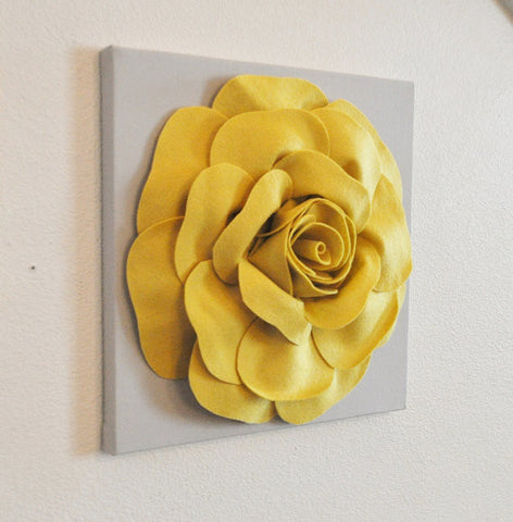 "Mellow Yellow Rose on Gray 12 x12"" Canvas"