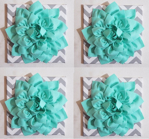 "Four Wall Flowers -Mint Dahlia Flowers on Gray and White Chevron 12 x12"" Canvas Wall Art- Baby Nursery Wall Decor-"