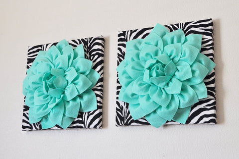 TWO Mint Green Dahlia Flowers on Black and White Zebra Print Canvases