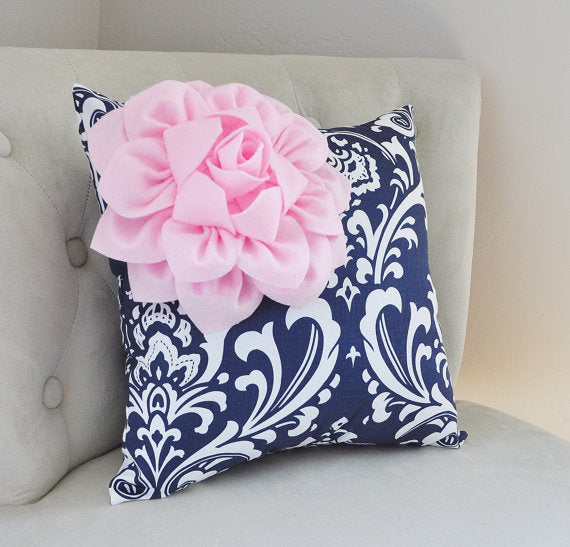 Navy Blue Damask Pillow - Daisy Manor