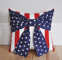Load image into Gallery viewer, American Flag Bow Pillow Red White and Blue Decor - Daisy Manor