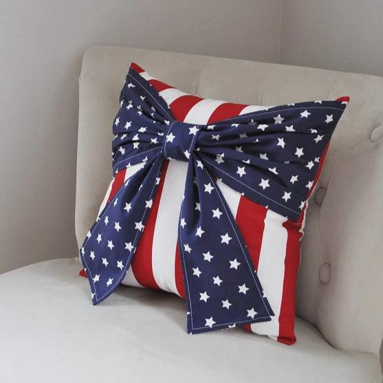 American Flag Bow Pillow Red White and Blue Decor - Daisy Manor