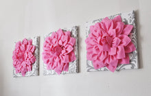 Load image into Gallery viewer, Three Pink Dahlia Flowers on White and Gray Damask Canvases - Daisy Manor