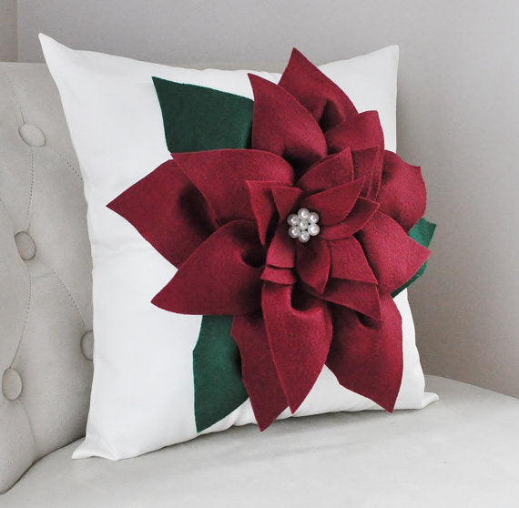 Cranberry Red Poinsettia Pillow for Christmas Decoration