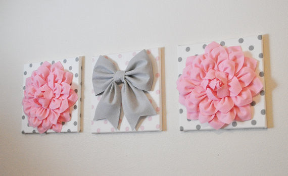 Three Light Pink Dahlias and Gray Bow on Polka Dot Canvases - Daisy Manor