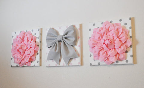 Three Light Pink Dahlias and Gray Bow on Polka Dot Canvases