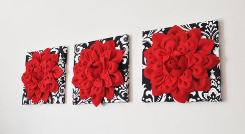 Three Red Dahlia Flowers on Black and White Damask Print Canvases