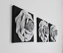 Load image into Gallery viewer, Silver Rose on Black Canvas Wall Art - Daisy Manor