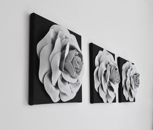 Silver Rose on Black Canvas Wall Art - Daisy Manor