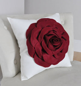 Rose Applique Ruby Red Rose on Cream Pillow - Daisy Manor