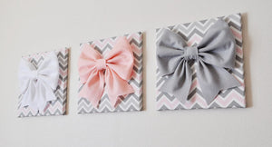Pink and Grey Nursery Wall Decor Bow Canvas Set - Daisy Manor