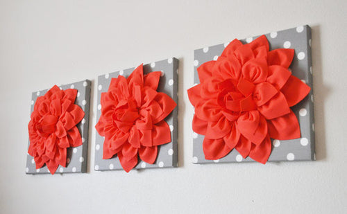 Three Coral Dahlias on Gray and White Polka Dot Canvases - Daisy Manor