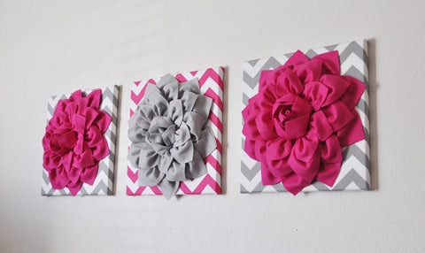Three Hot Pink and Gray Flower Chevron Canvases