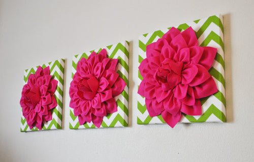 Three Hot Pink Dahlias on Green and White Chevron Canvases - Daisy Manor