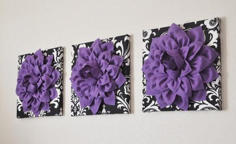 THREE Lavender Dahlia Flowers on Black and White Damask
