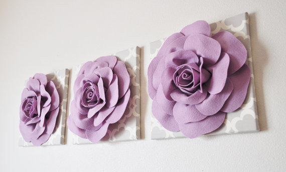 Rose Flower Design Baby Nursery Kids Bedroom Wooden: Three Lilac Rose On Neutral Gray Tarika Canvases