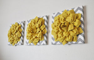 Three Mellow Yellow Dahlia On Gray And White Chevron Canvases - Daisy Manor