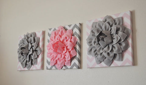 Three Gray and Light Pink Chevron Canvases