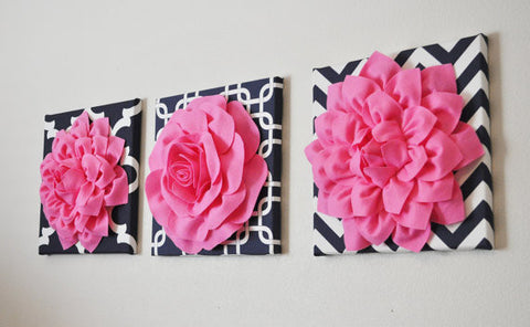 THREE Pink Flower Set on Navy and White Prints Canvases