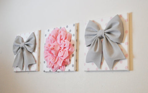 Set of Three Large Gray Bows and Light Pink Dahlia on Polka Dot Canvases