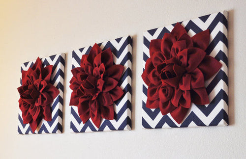 Ruby Dahlia Flowers on Navy and White Chevron Canvas - Daisy Manor