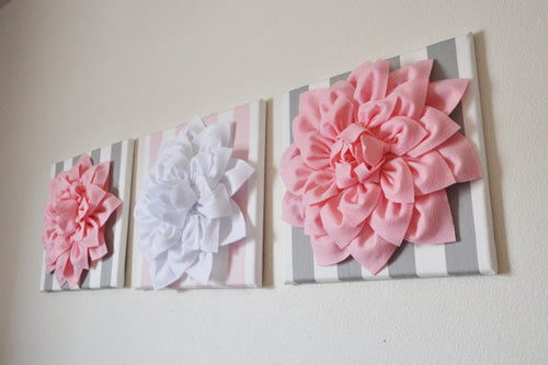 Set of Three White and Light Pink Dahlia and Stripe Canvases - Daisy Manor