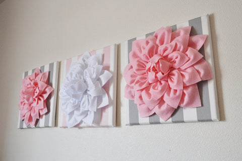 Set of Three White and Light Pink Dahlia and Stripe Canvases