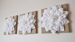 Three White Dahlias Flowers on Burlap Canvases - Daisy Manor