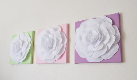 Three White Roses on Light Pink Lilac Light Green Canvases