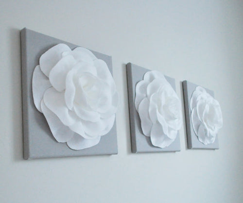 White Roses on Gray Canvases Set of THREE - Daisy Manor