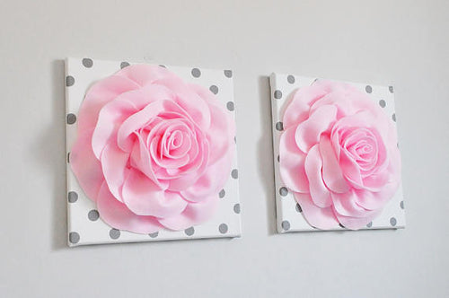 Light Pink Roses on White with Gray Polka Dot Canvases - Daisy Manor